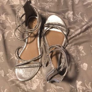 Strapped silver crystal sandals